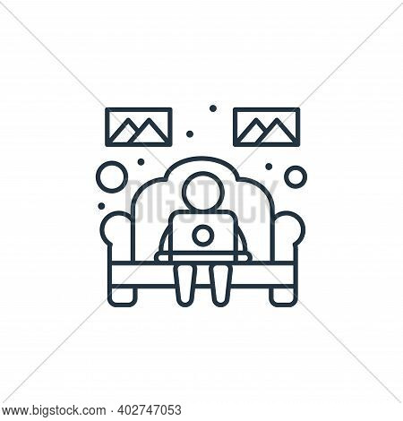 working at home icon isolated on white background. working at home icon thin line outline linear wor