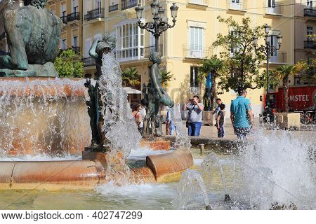 Valencia, Spain - May 18, 2017: This Is A Fragment Of The Turia River Fountain With Allegorical Figu