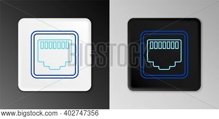 Line Network Port - Cable Socket Icon Isolated On Grey Background. Lan, Ethernet Port Sign. Local Ar
