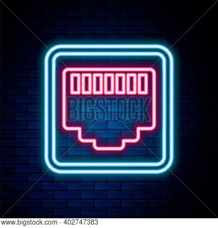 Glowing Neon Line Network Port - Cable Socket Icon Isolated On Brick Wall Background. Lan, Ethernet