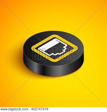 Isometric Line Network Port - Cable Socket Icon Isolated On Yellow Background. Lan, Ethernet Port Si