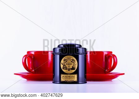 Prague,czech Republic - 10 January,2021: Legendary Marco Polo Tea In The Black Box And Two Red Cups