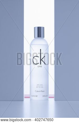 Prague,czech Republic - 9 January 2021: Calvin Klein Body Wash In The Backlight On The White Table.