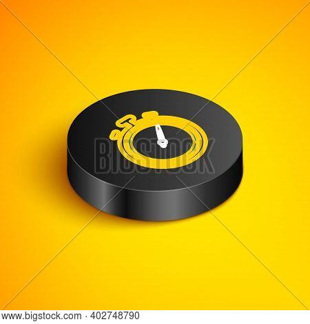 Isometric Line Stopwatch Icon Isolated On Yellow Background. Time Timer Sign. Chronometer Sign. Blac