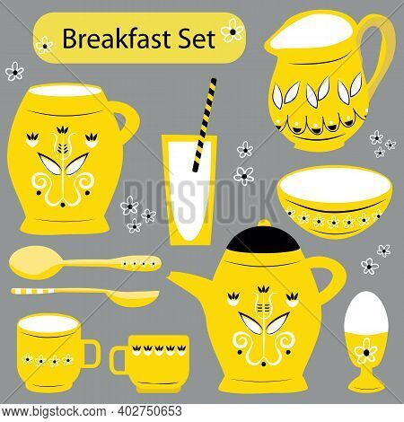 Vector Breakfast Utensil Set. Yellow White Black Retro Country Jugs, Bowls, Spoons, Glasses, Egg Cup