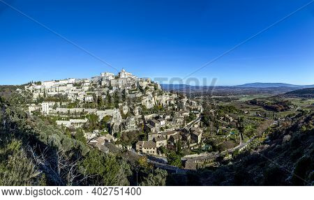 Panorama Of Medieval Town Of Gordes, Provence In France