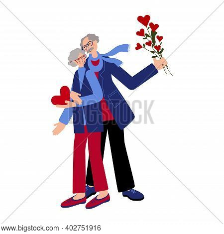 Seniors Couple Is Celebrating Valentine's Day Together And Gift Each Other Hearts. Cute Old Lady And
