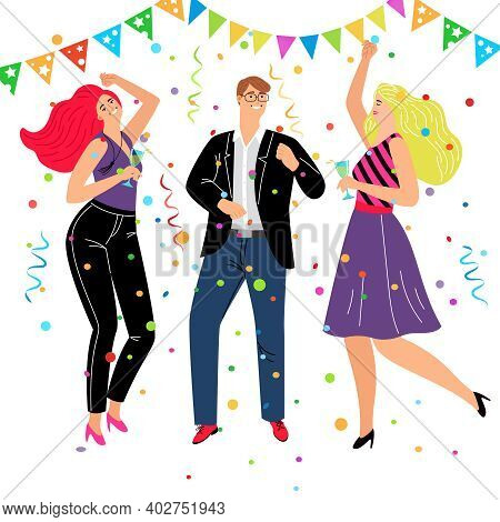 Corporate Friendly Event. Cartoon Friends Group Celebrating And Dancing In Business Trendy Costumes,