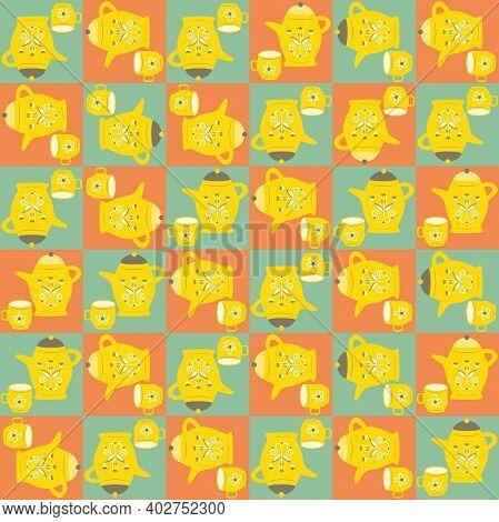 Vector Breakfast Utensil Seamless Pattern Background Checkered Blue Orange Backdrop With Scandi Styl