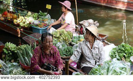 Bangkok, Thailand - 13 July 2019: Lat Mayom Floating Market. Traditional Classic Khlong River Canal,