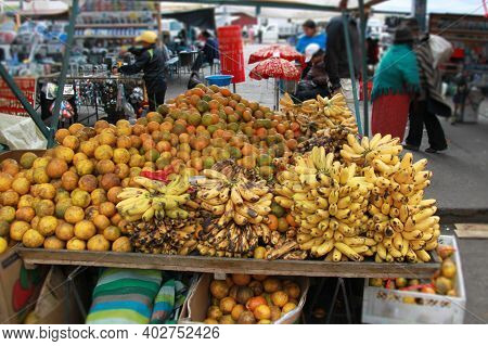 Fruits And Vegetables For Sale In A Typical Ecuadorian Market. High Quality Photo