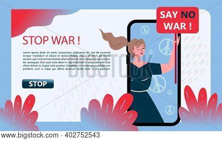 No War. Stop War. Social Banner Hand Drawn Illustration