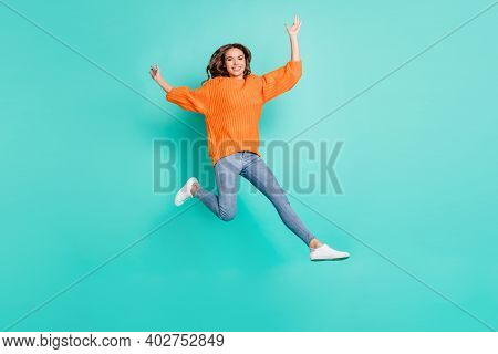 Full Size Photo Of Young Pretty Funky Funny Careless Carefree Girl With Brown Hair Jumping Isolated