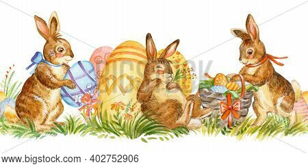 Seamless Border With Spring Easter Concept.watercolor Border With Cute Rabbits Characters And Easter