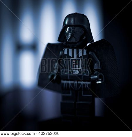 JAN 7 2021: Lego style minfig of Sith Lord Darth Vader - generic branded mini figure
