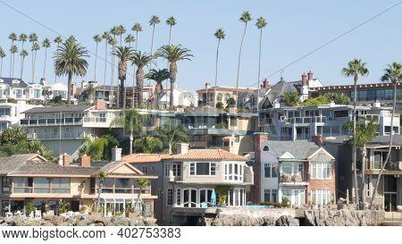 Luxury Property, Beachfront Real Estate On Pacific Ocean Coast, Newport Beach Harbor, California, Us