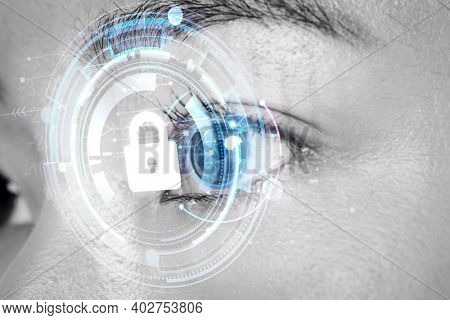 Woman's eye with smart contact lens biometric secu technology concept
