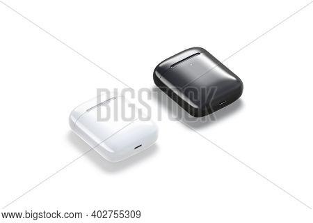 Blank Black And White Headphones Case Mockup Lying, Side View, 3d Rendering. Empty Closed Earpods Bo