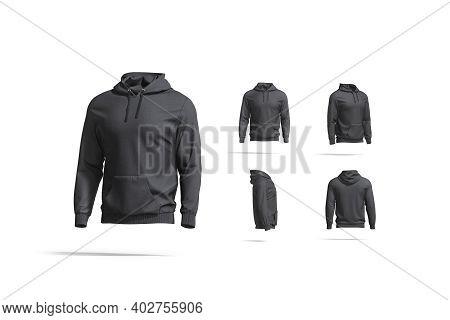 Blank Black Sport Hoodie With Hood Mock Up, Different Views, 3d Rendering. Empty Cloth Hooded Sweate