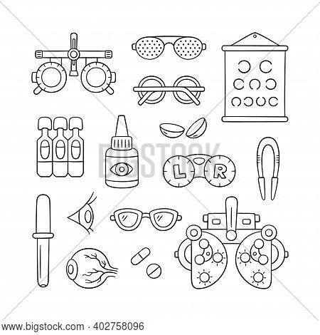 Ophthalmology Hand Drawn Set. Contact Lens, Eyeball, Glasses, Phoropter And More. Optometry Doodle O
