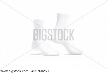 Blank White Long Socks Mockup Pair On Tiptoe, Side View, 3d Rendering. Empty Cotton Or Wool Anklets