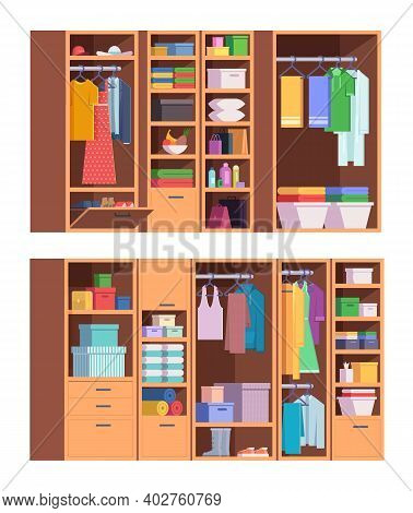 Wardrobe. Open And Closed Doors Of Home Storage For Clothes Interior Organized Wardrobe Vector Set.
