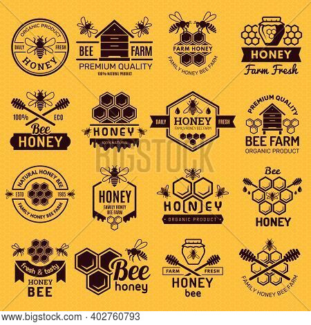 Apiary Badges. Labels Or Logos For Honey Products Natural Healthy Eco Food Stamps Vector Set. Natura