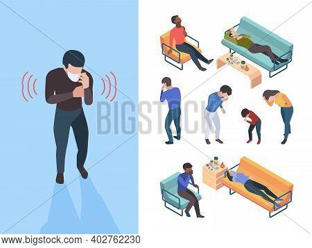 Flu Symptoms. Sick People Bacteria Sneezing Coughing Garish Vector Characters Isometric. Illustratio