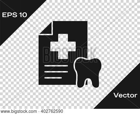 Black Clipboard With Dental Card Or Patient Medical Records Icon Isolated On Transparent Background.