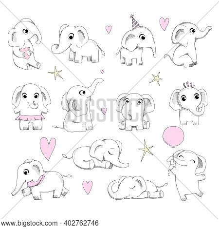 Cute Baby Elephant. Newborn Animals Sitting And Playing Neoteric Vector Elephants Collection. Illust