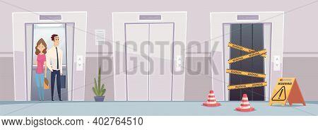 Elevator. Office Building With Opened Closed Repair Doors Elevators Vestibule Interior Vector Illust