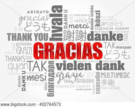 Gracias (thank You In Spanish) Word Cloud Background, All Languages, Multilingual For Education Or T