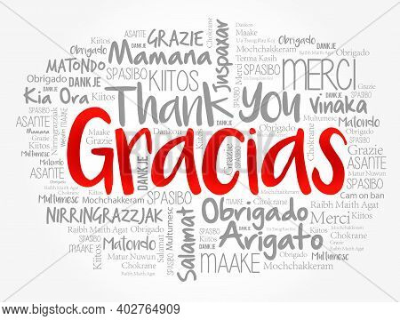 Gracias (thank You In Spanish) Word Cloud In Different Languages