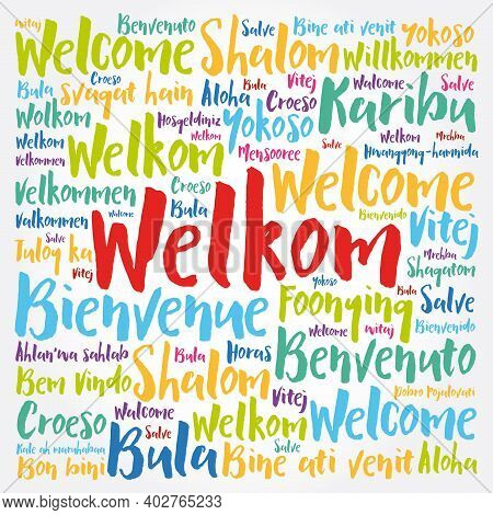 Welkom (welcome In Afrikaans) Word Cloud In Different Languages, Conceptual Background