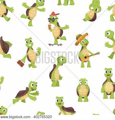 Turtles Pattern. Funny Kids Cartoon Turtle, Happy Cute Animals Vector Seamless Texture. Illustration
