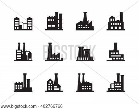 Factory Silhouettes. Manufacture Industrial Plant Chemical Production Air Pollution Garish Vector Sy