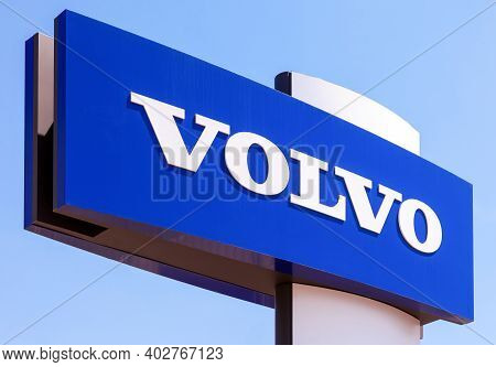 Samara, Russia - May 31, 2014: Volvo Dealership Sign Against The Blue Sky. Volvo Is A Swedish Multin
