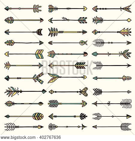 Boho Arrows Collection. Ethnic Authentic Feathers With Arrows Recent Vector Set. Illustration Feathe