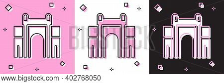 Set India Gate In New Delhi, India Icon Isolated On Pink And White, Black Background. Gate Way Of In