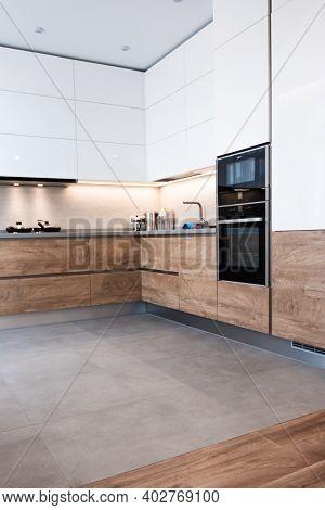 Modern White Kitchen Clean Interior Design. Home Cooking