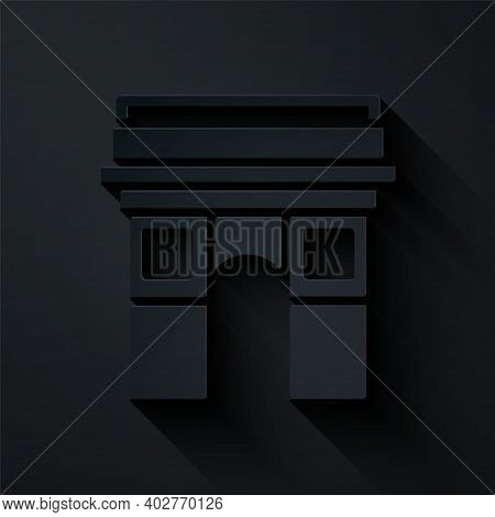 Paper Cut Triumphal Arch Icon Isolated On Black Background. Landmark Of Paris, France. Paper Art Sty