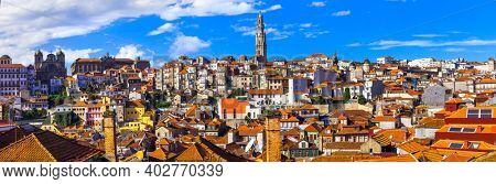 Panoramic cityscape view of Porto town, Portugal travel and landmarks