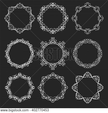 Round Calligraphy White On Black Vector Frames. Flourishes Vintage Borders, Filigree Circle Elements