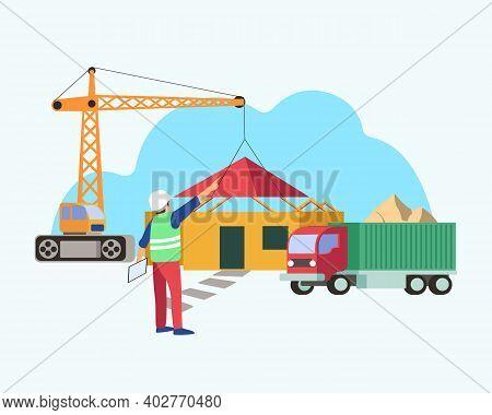 House Under Construction Flat Illustration Concept Vector