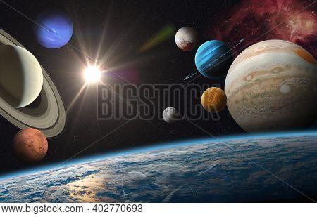 Earth And Solar System Planets, Sun And Star. Sun, Mercury, Venus, Earth, Mars, Jupiter, Saturn, Ura