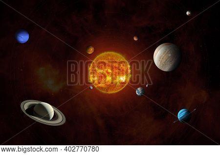 Sun And Solar System Planets. Mercury, Venus, Earth, Mars, Jupiter, Saturn, Uranus, Neptune, Pluto A