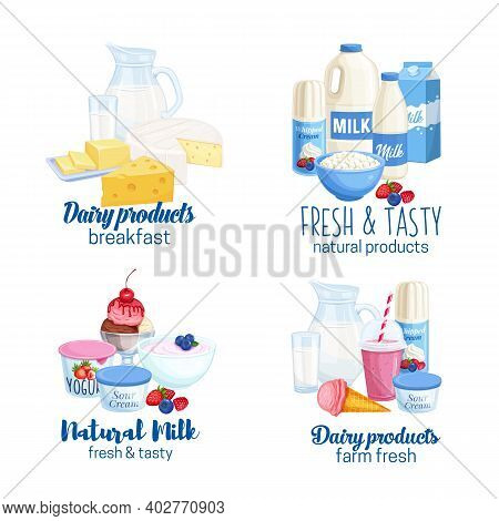 Dairy Products Vector Banners. Illustrations Of Cottage Cheese, Milk, Butter, Cheese And Sour Cream.