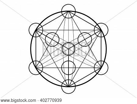 Metatrons Cube,  Flower Of Life. Sacred Geometry, Graphic Element Magic Hexagram. Vector Isolated Il