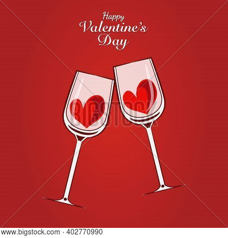 Vector Design Of Valentine's Day Card With Two Wineglasses