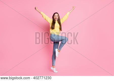 Full Size Photo Of Young Beautiful Crazy Ecstatic Positive Good Mood Girl Raise Fists Leg Isolated O